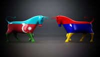 Bulls with Azerbaijan and Armenia flags facing each other on dark background. 3D illustration