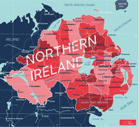 Nothern Ireland country detailed editable map