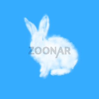 Congratulation card with Easter rabbit made from cloud.