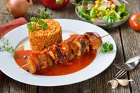 Shashlik skewer with Djuvec rice