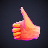 Concept of social network and media: low poly human hand with thumb up gesture.