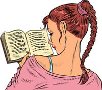 Girl student reading a book