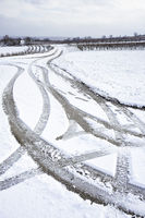 Track of Tires in the snow