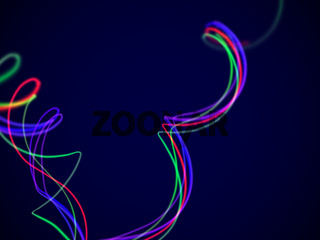 Abstract curved wavy RGB lines in motion on dark blue background.