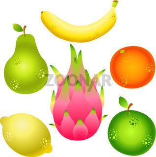 Exotic fruits - pitahaya, banana, pear, apple, lemon. Healthy eating. illustration isolated on white.