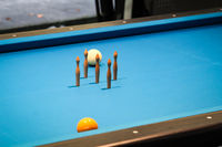 a scene on a pool table