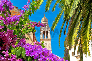 Vela Luka: Town of Vela Luka on Korcula island church tower and flowers view