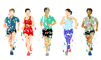 a group of runners on white background,