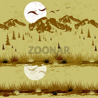 Landscape of Canada with mountains, forest and river, sunset. Birds are flying. Seamless pattern. Monochromatic coloring