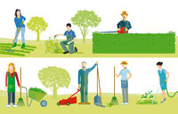 Gardeners work in the garden