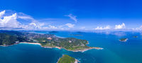 aerial view from mountain on pha hin dam to see nai harn beach and promtep cape