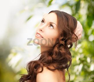beautiful woman on nature