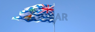 3D rendering of the national flag of British Indian Ocean Territory waving
