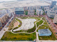 Amsterdam, 6th of December 2020, Aerial drone view on top of europe largest skatepark in The Netherlands Zeeburgereiland