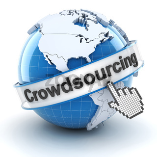 Crowdsourcing symbol with globe and cursor, 3d render