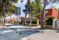 La Marina empty street and road, coastal village, Elche, province of Alicante in Spain, Costa Blanca