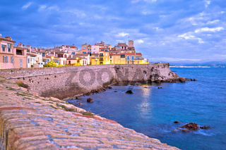 French riviera. Historic town of Antibes seafront and landmarks dawn view