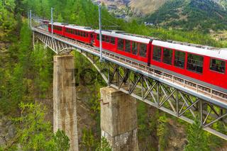 Zermatt, Switzerland. Gornergrat train on bridge