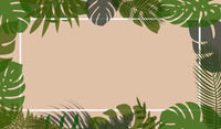 natural horizontal vector background with tropical leaves in pastel colors