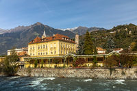 Winter promenade at Passer river in Meran, South Tyrol
