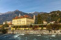 Winter promenade at Passer river in Meran, South Tyrol