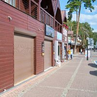 Closed shops at the end of the holiday season in Niechorze on the Polish Baltic Sea coast
