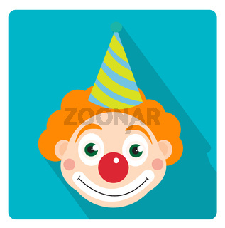 Clown icon flat style with long shadows, isolated on white background. illustration.