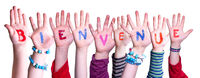 Children Hands Building Word Bienvenue Means Welcome, Isolated Background