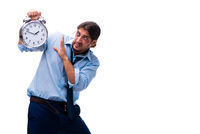 Unhappy young male employee in time management concept