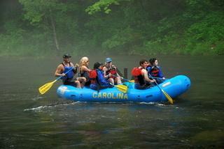 Rafting auf dem Oconaluftee River, North Carolina