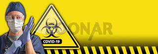 Banner of Doctor or Nurse Wearing Protective Equipment and Coronavirus COVID-19 Bio-hazard Warning Sign Behind