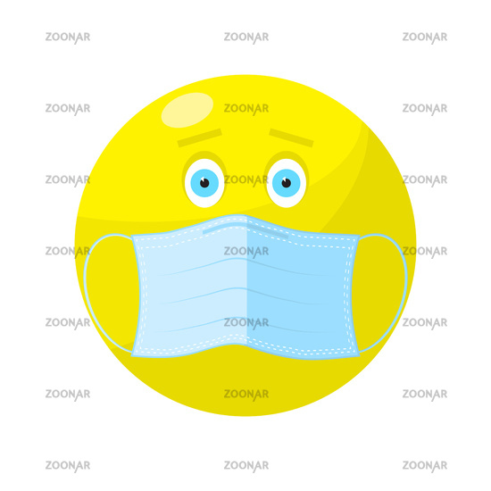 Yellow Ball with Medical Mask. Stop COVID-19. Coronavirus Protection. Outbreak 2019-ncov. Circle Face for Social Media