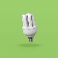 Fluorescent Lamp on Green Background