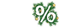 Christmas White Percent Green Twigs Baubles Header