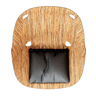 A chair made of thin sheets of wood and a black pillow on the seat top view on a white background. 3d rendering