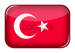 Turkey web icon rectangle button with clipping path 3d illustration