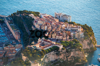 Monaco. Prince palace and old town on the rock in Monaco aerial view