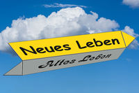 Street sign caption in german - new against old life