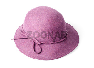 purple female felt hat isolated on white background
