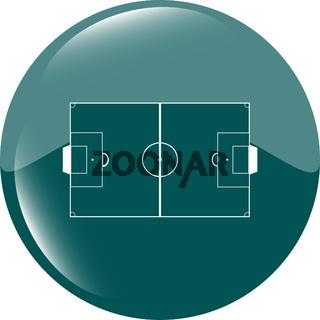 football soccer field on web icon, sport application web button