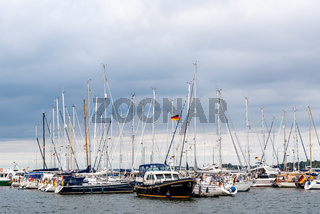 Yachts moored in the pier of the harbour of Stralsund
