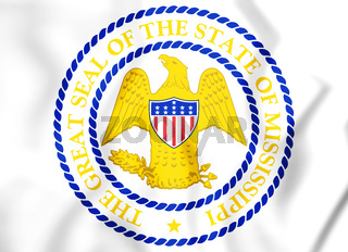 3D State Seal of Mississippi (1879-2014), USA. 3D Illustration.