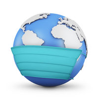 Globe in a protective mask