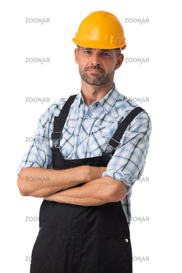 Portrait of a workman on white