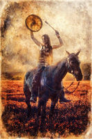 young dreadded girl with her horse and shamanic frame drum, painting effect.