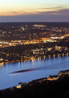 river Rhine seen from Drachenfels in the evening, Siebengebirge, Koenigswinter, Germany, Europe