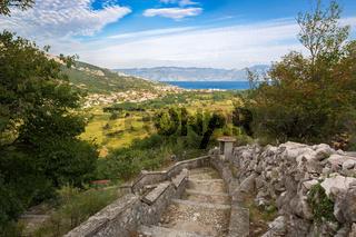 Bay in Krk Island with view to Baska, Croatia