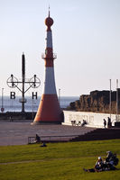 Willy-Brandt-Platz with lighthouse Unterfeuer and wind semaphore, Bremerhaven, Germany, Europe