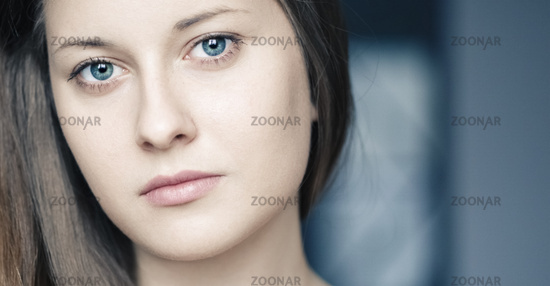 Beautiful woman as closeup beauty face portrait, natural makeup look and long hairstyle for female hair care, cosmetic or skincare brand