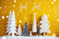 Christmas Trees, Snowflakes, Yellow Background, God Jul Means Merry Christmas